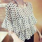 White Casual Women Girls Chiffon Short Dots Shirts Tops Blouse Tiered Ruffle