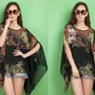 Black Women Casual Chiffon Floral Shirts Tops Blouse Plus Size Loose Batwing Asymmetrical