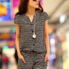 Striped M Women Girls Casual Short Jumpsuits Romper Short Sleeve Summer