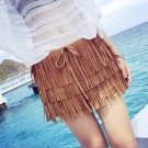 Brown M Women Girls Casual Mini Shorts Skirts Fringe Tassel Tiered Boho Hot