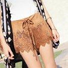 Coffee M Fashion Women Girls Casual Mini Shorts Faux Suede Hollow Out Tie Bohemia Boho Hot