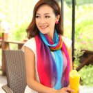 Wholesale 5pcs/lot Mixed Colors Fashion Women Girls Chiffon Beach Scarves Rainbow Stripe Gradient