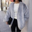 Grey Fashion Women Casual Outwear Faux Fur Coat Loose Autumn Winter
