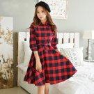 Red M Fashion Women Girls Grid Plaid Mini Dresses Seven Sleeve A Line Circle Flared