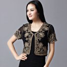 Black With Beige  Women Casual Cardigan Shrugs Blouse Shirts Bolero Lace Gauze Embroider
