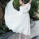 M Women Girls Casual White Long Dresses Chiffon Ruffle Short Sleeve Summer Flared