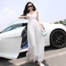 M Women Girls Casual Bohemia Beach Long Dresses White Chiffon Spaghetti Strap Summer