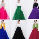 Blue Women Long Tulle Gauze Skirts Elegant Prom Party Wedding
