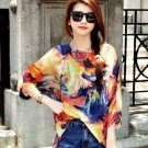 Women Girls Casual Orange Chiffon Floral Shirts Blouse Batwing Oversized Loose Half Sleeve