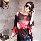 Women Girls Casual Red Chiffon Floral Shirts Blouse Batwing Half Sleeve Oversized Loose