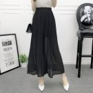 Black Women Casual Chiffon Nine Wide Leg Pants Trousers Ruffle Elastic Waist