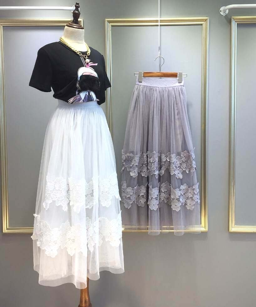 Grey Fashion Women Casual Long Skirts Gauze Tulle Lace Flower Elegant
