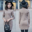 Coffee Women Pullover Sweater Dresses Fitness Bodycon Wrapped Turtleneck Spring Autumn