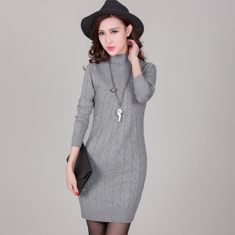 Grey Women Pullover Sweater Dresses Fitness Bodycon Wrapped Turtleneck Spring Autumn