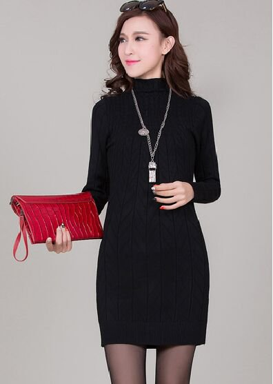 Black Women Pullover Sweater Dresses Fitness Bodycon Wrapped Turtleneck Spring Autumn
