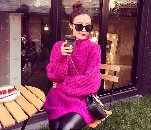 Purple Women Girls Casual Pullover Sweater Knitwear Loose Baggy