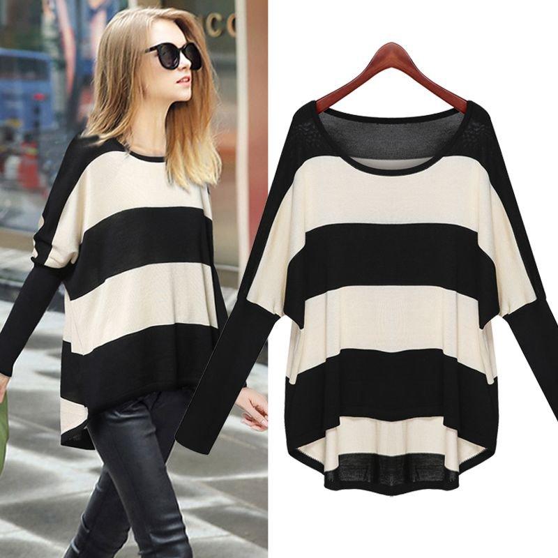 Women Pullover Sweater Knitwear Striped Irregular Asymmetrical Loose Baggy Round Neck