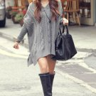 Grey Women Pullover Sweater Knitwear V Neck Loose Baggy Batwing Autumn Winter