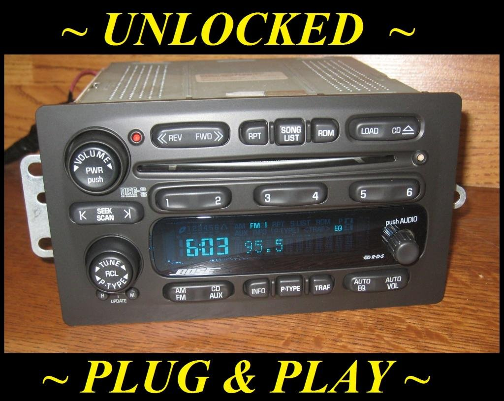 unlocked 02 03 chevy trailblazer gmc envoy bose 6 disc cd. Black Bedroom Furniture Sets. Home Design Ideas