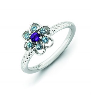 Silver stackable ring with blue topaz and amethyst flower