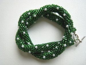 Beaded Crochet Irish Green Glass Necklace with Faux White Pearls
