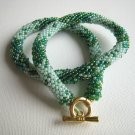 Beaded Crochet Light and Dark Green Glass Necklace