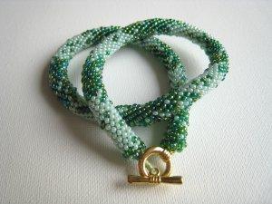 Beaded Crochet Light and Dark Green Glass Necklace