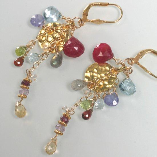 Ruby Blue Topaz Tanzanite Peridot Vermeil Disc Earrings
