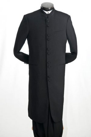 NWT Vittorio St. Angelo Men's Classic Mandarin Black Suit Size 48R (42w)