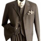 NWT Vittorio St. Angelo Men's 3-button Classic Brown Suit Size 48R (42w)