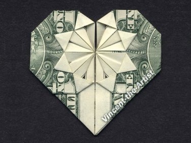 Money Origami HEART - Dollar Bill Art - Made with Real $1.00 Cash Gift