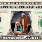 Christmas Nativity ( Manger & Baby Jesus ) on REAL Dollar Bill Cash Money