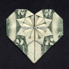 $2 Bill Money Origami HEART - Dollar Bill Art - Made with Real $2.00 Cash Gift