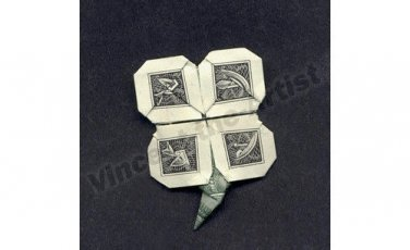 Money Origami Four LEAF CLOVER - Dollar Bill Art - Made with Real $1.00 Cash