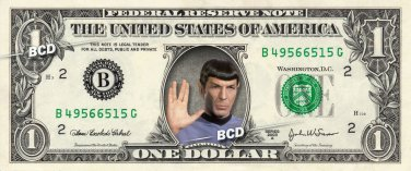 Mr Spock - 5-Set REAL DOLLAR BILL Collection - Star Trek Leonard Nimoy Pack