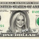 LINDSAY LOHAN on REAL Dollar Bill Spendable Cash Celebrity Money Mint