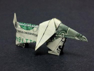 Money Origami DACHSHUND DOG - Dollar Bill Art - Made with $1.00 Bill Cash