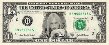 TOM PETTY on REAL Dollar Bill - Collectible Celebrity Custom Cash Money Art