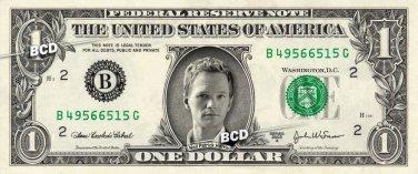 NEIL PATRICK HARRIS on REAL Dollar Bill Collectible Cash Celebrity Money Mint