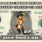 PUSS IN BOOTS on REAL Dollar Bill - Collectible Cash Money Art $1.00