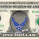 Air Force Logo on REAL Dollar Bill - Custom Cash Money Art - AirForce