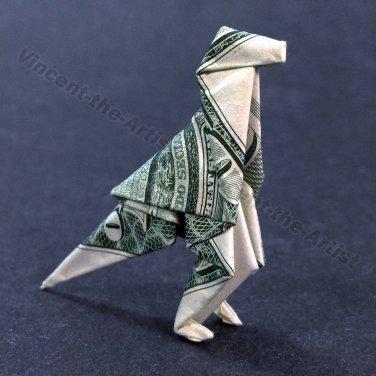Money Origami T-REX - Dollar Bill Art - Made with real $1 Cash Tyrannosaurus