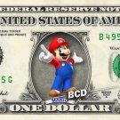 MARIO on REAL Dollar Bill - Collectible Celebrity Custom Cash Money Art