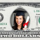 CUSTOMIZED COLOR $2 Dollar Bill with ur NAME & Picture! Made w/ Real $2.00 Cash