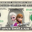 Disney's Elsa & Anna - Frozen - on REAL Dollar Bill - $1 Collectible Custom Cash