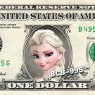 ELSA - Frozen on REAL Dollar Bill - $1 Celebrity Custom Cash Money