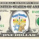Happy Hanukkah / Menorah / Dreidel on REAL Dollar Bill Collectible Cash Money