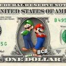 Luigi And Mario on REAL Dollar Bill - Collectible Cash Money Mario Brothers