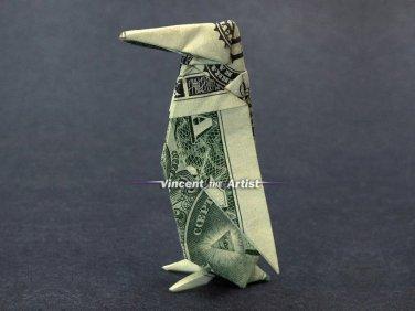Money Origami PENGUIN - Dollar Bill Art - Made with $1.00 Cash