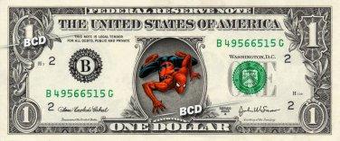 SPIDERMAN on REAL Dollar Bill - Collectible Celebrity Cash Money Art $$